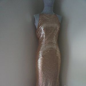 Lulus Gold Sequin Maxi Dress